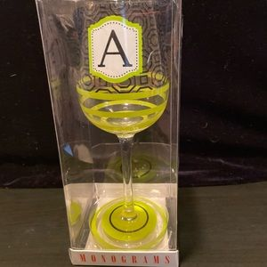 MONOGRAMS NWT Wine Glass Letter 'A'